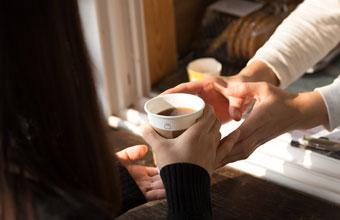 논산 마음수련원 야외 카페에서의 커피