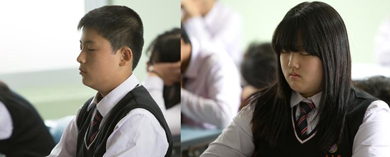 대산중 자유학기제로 시행된 마음수련 명상 수업에 참가하는 학생들